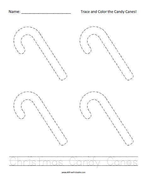 Free Printable Christmas Candy Canes Tracing Worksheet