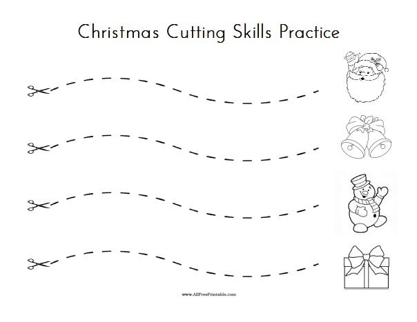 Free Printable Christmas Cutting Skills Practice