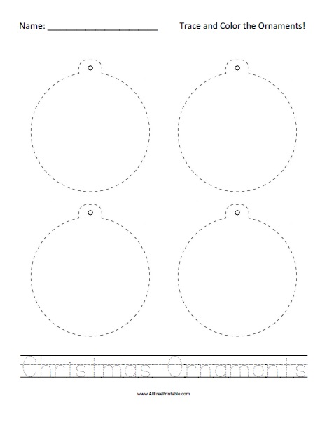Free Printable Christmas Ornaments Tracing Worksheet