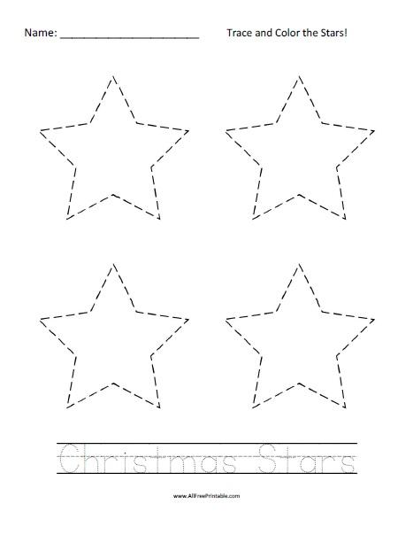Free Printable Christmas Stars Tracing Worksheet