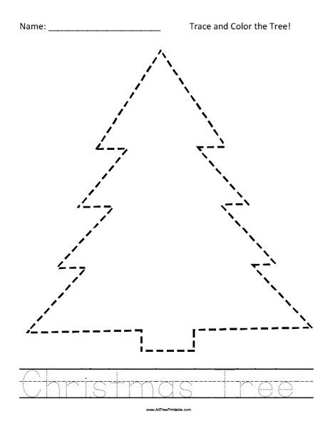 Free Printable Christmas Tree Tracing Worksheet