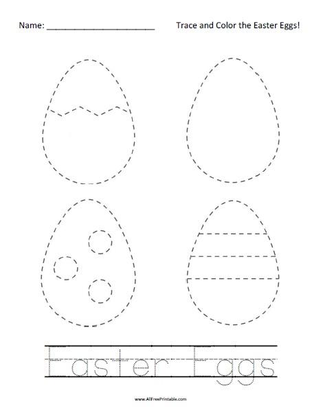 Free Printable Easter Eggs Tracing Worksheet