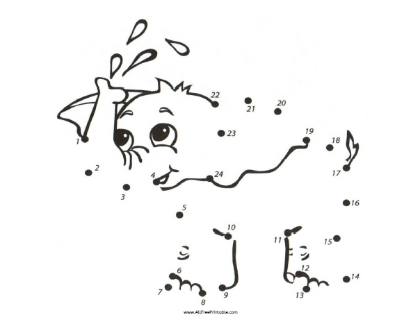 Free Printable Numbers Dot to Dot Elephant
