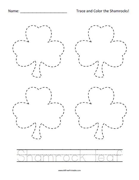 Free Printable Shamrock Tracing Worksheet