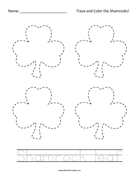 Free Printable St. Patrick's Day Tracing Worksheet