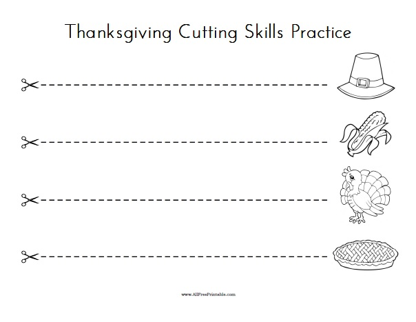 Free Printable Thanksgiving Cutting Skills Practice