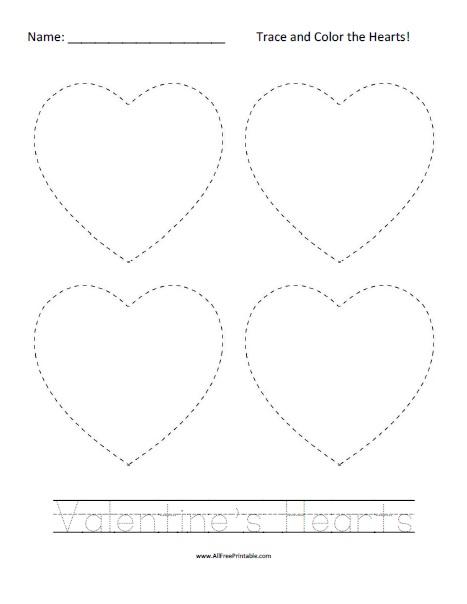 Free Printable Valentine's Hearts Tracing Worksheet