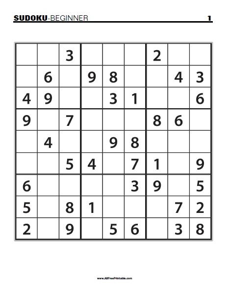 Free Printable Beginner Sudoku Puzzles