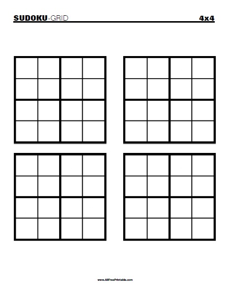 Free Printable Blank 4x4 Sudoku Grid