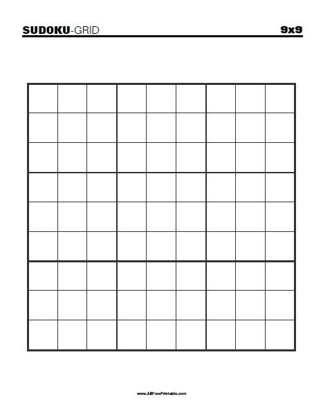 Free Printable Blank 9x9 Sudoku Grid