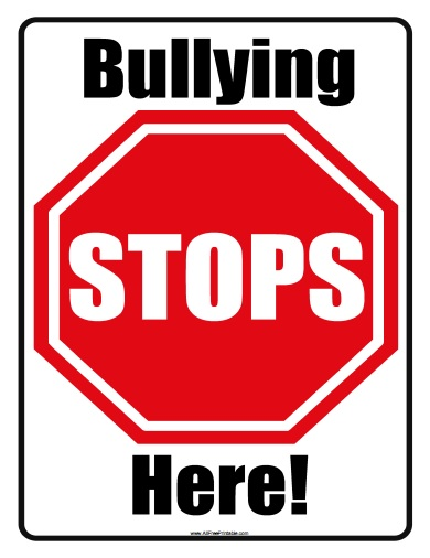 Free Printable Bullying Stops Here Sign