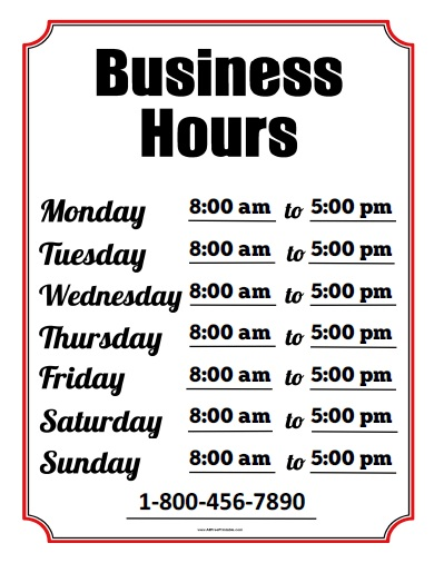 Business hours sign free printable for Hours of operation template microsoft word