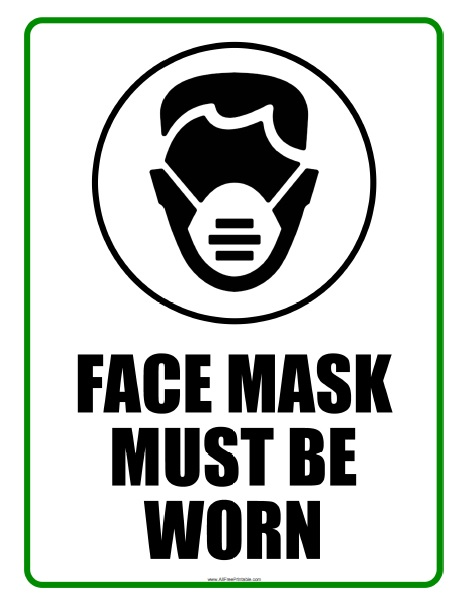 Free Printable Face Mask Must Be Worn Sign