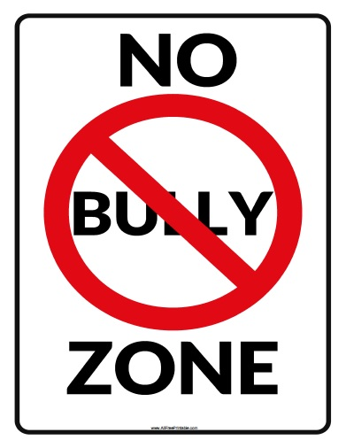 Free Printable No Bully Zone Sign