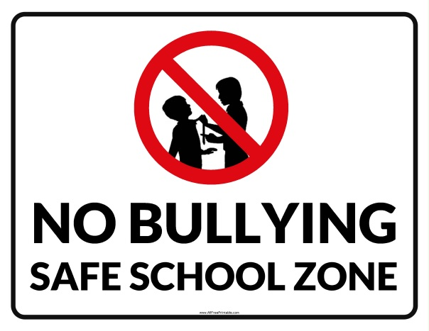 graphic relating to No Pets Allowed Sign Free Printable known as No Bullying Harmless Higher education Zone Signal - Totally free Printable
