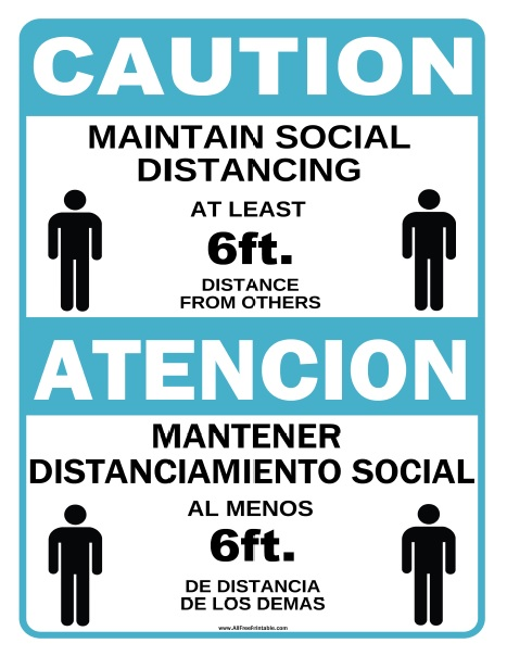 Free Printable Social Distancing Bilingual Sign
