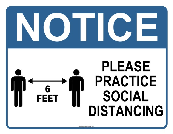 Free Printable Social Distancing Sign