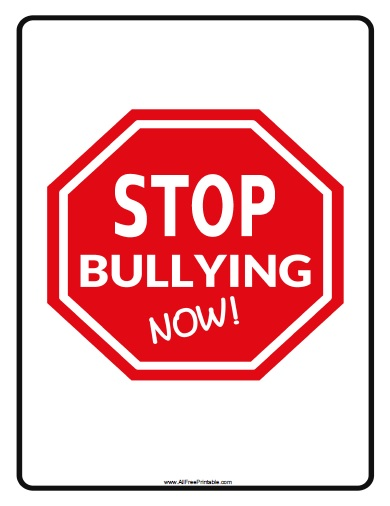 Free Printable Stop Bullying Now Sign
