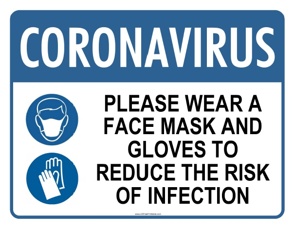 Free Printable Wear Face Mask and Gloves Coronavirus Sign