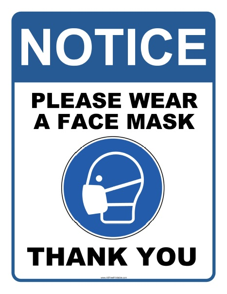 Free Printable Wear Face Mask Sign