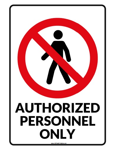 Free Printable Authorized Personnel Only Sign