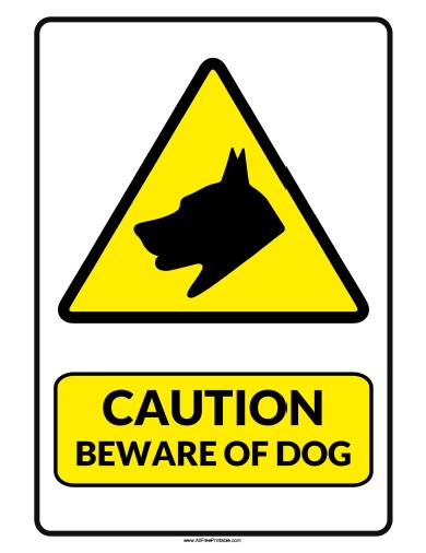 Free Printable Caution Beware of Dog Sign