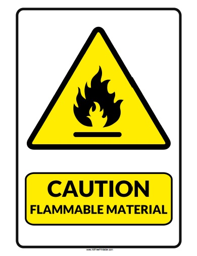 Free Printable Caution Flammable Material Sign