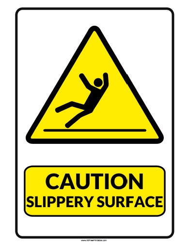 Caution Slippery Surface Sign - Free Printable
