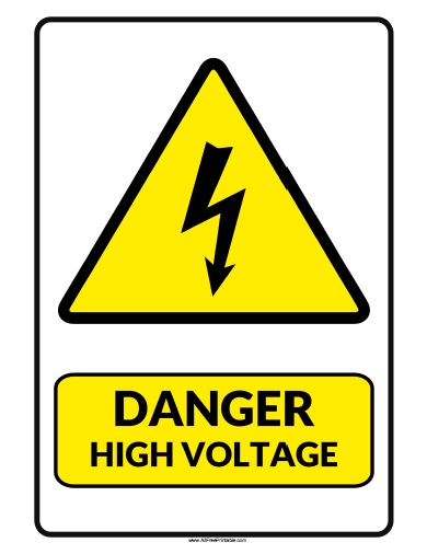 Free Printable Danger High Voltage Sign