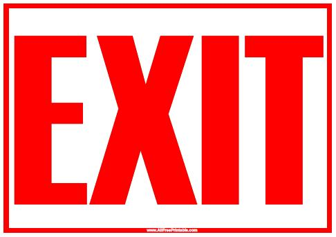 photo relating to Printable Exit Signs titled Exit Indication - Totally free Printable -