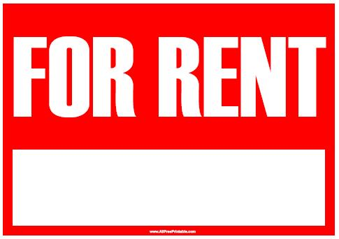 Free Printable For Rent Sign