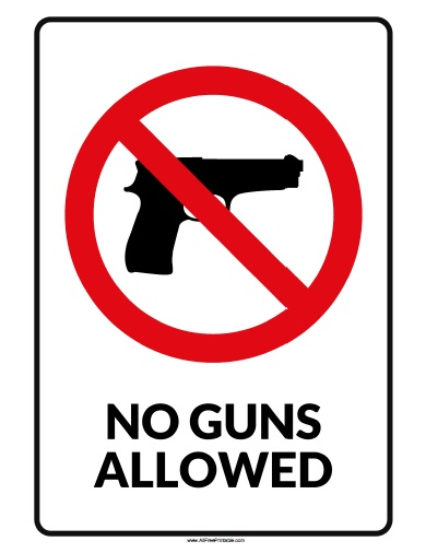 Free Printable No Guns Allowed Sign