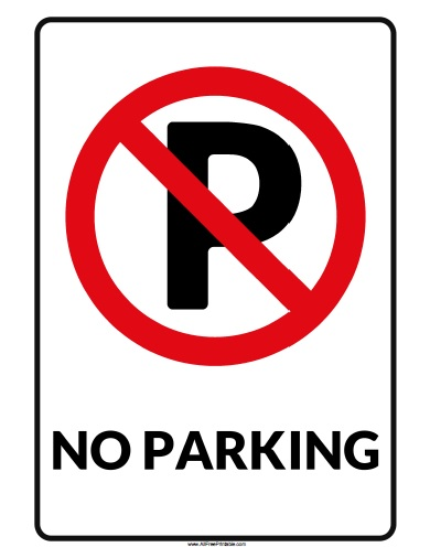 Free Printable No Parking Sign