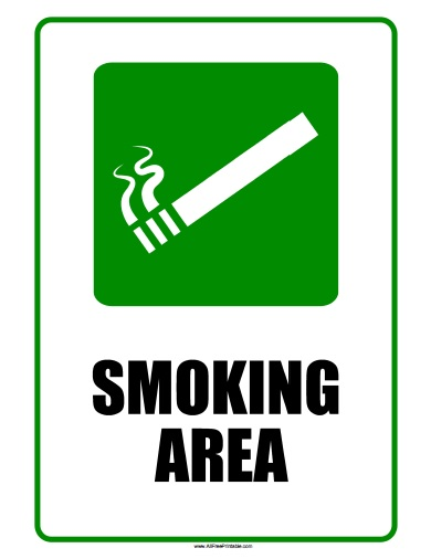 Free Printable Smoking Area Sign