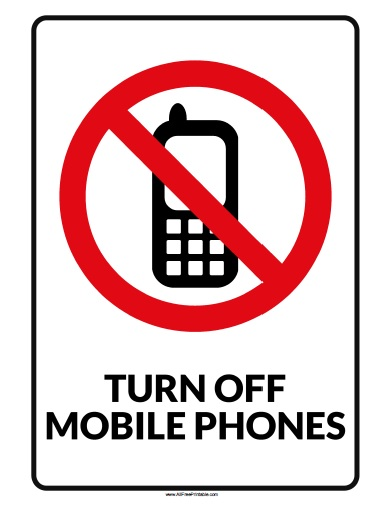 photograph about No Pets Allowed Sign Free Printable titled Transform Off Cellular Cellphone Indication - No cost Printable