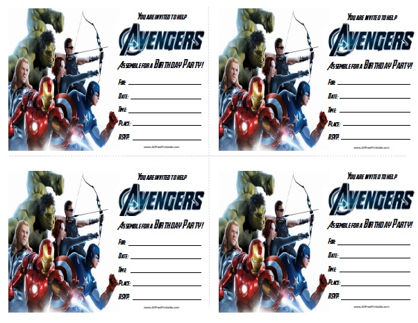 Free Printable Avengers Birthday Invitations