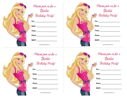 Free Printable Barbie Birthday Invitations