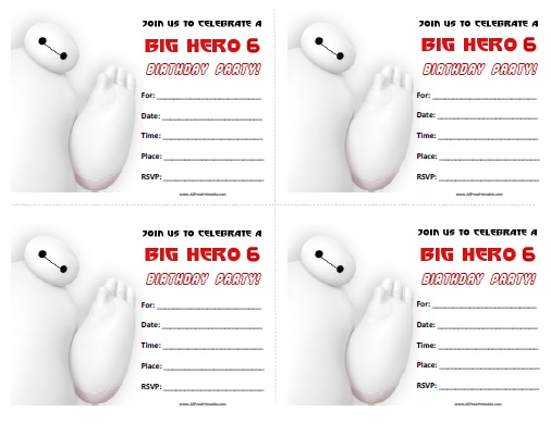 Free Printable Big Hero 6 Birthday Invitations