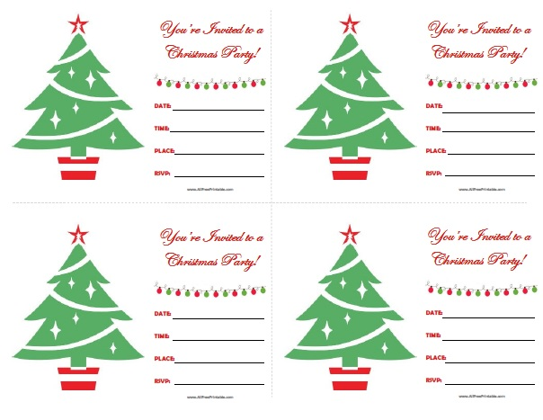 Christmas Party Invitations - Free Printable - AllFreePrintable.com