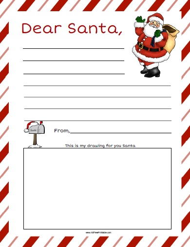 Dear santa letter free printable for Dear santa template kindergarten letter