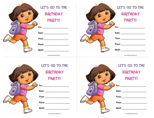 Free Printable Dora the Explorer Birthday Invitations