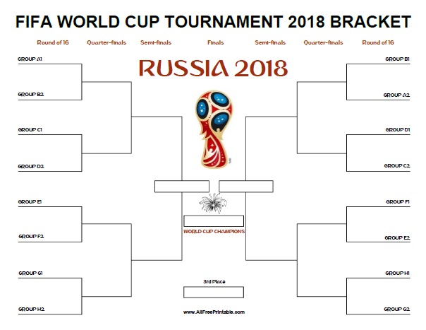 image about World Cup Bracket Printable known as FIFA World wide Cup Bracket Russia 2018 - Cost-free Printable