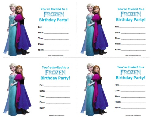 Frozen Birthday Invitations Free Printable AllFreePrintablecom