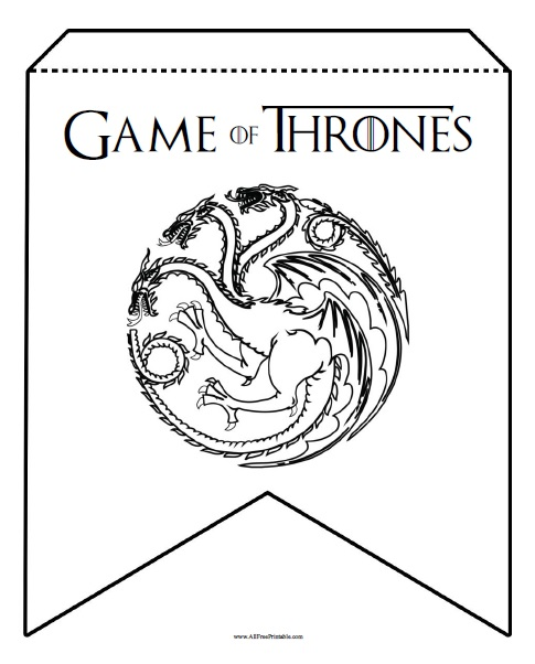 picture relating to Printable Banners known as Video game of Thrones Birthday Banner - No cost Printable