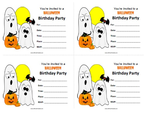 Halloween Birthday Invitations - Free Printable - AllFreePrintable.com
