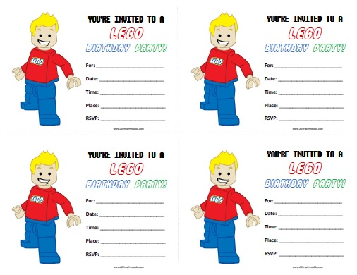 Lego Birthday Invitations Free Printable AllFreePrintablecom - Lego birthday invitation template free