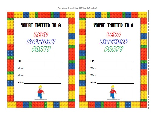 Lego Birthday Party Invitations Free Printable