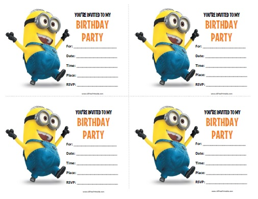 Minions Birthday Invitations Free Printable AllFreePrintablecom - Birthday invitation template minions