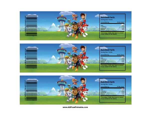 photograph about Printable Paw Patrol identified as Paw Patrol Drinking water Bottle Labels - Absolutely free Printable