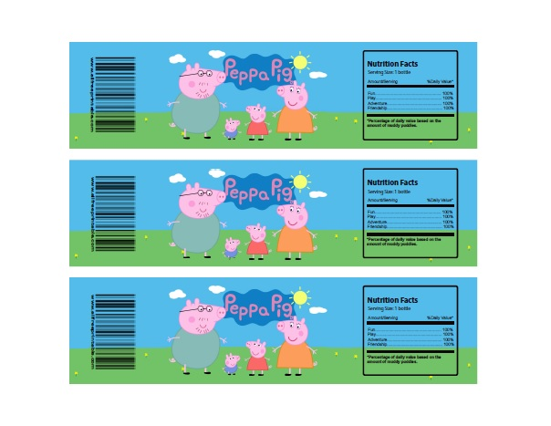 Free Printable Peppa Pig Water Bottle Labels